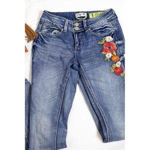Indigo Rein Embroidered Floral Jeans Junior Size 5